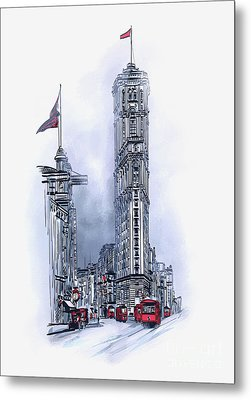 Metal Print featuring the painting 1908 Times Square,ny by Andrzej Szczerski