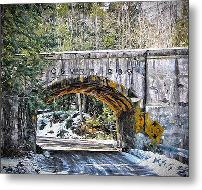 1909 Country Backroad Train Overpass Metal Print