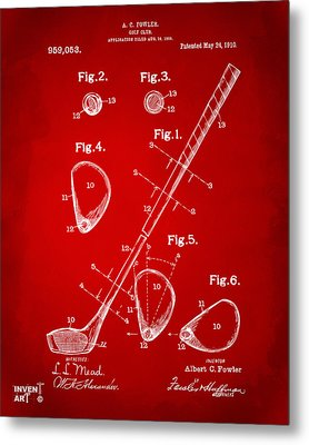 1910 Golf Club Patent Artwork Red Metal Print