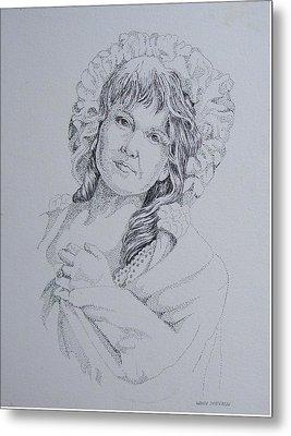 1910 Lady Metal Print by Wanda Dansereau