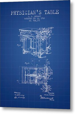 1910 Physicians Table Patent - Blue Print Metal Print by Aged Pixel