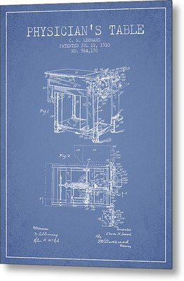 1910 Physicians Table Patent - Light Blue Metal Print by Aged Pixel
