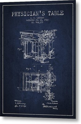 1910 Physicians Table Patent - Navy Blue Metal Print by Aged Pixel