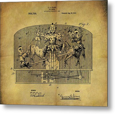 1910 Toy Circus Patent Metal Print by Dan Sproul