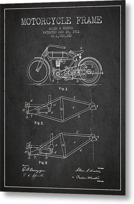 1911 Motorcycle Frame Patent - Charcoal Metal Print by Aged Pixel