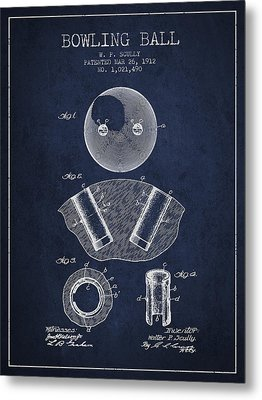 1912 Bowling Ball Patent - Navy Blue Metal Print by Aged Pixel