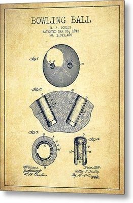 1912 Bowling Ball Patent - Vintage Metal Print by Aged Pixel
