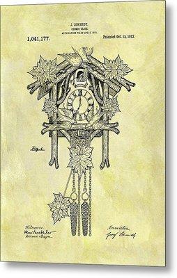 1912 Cuckoo Clock Patent Metal Print