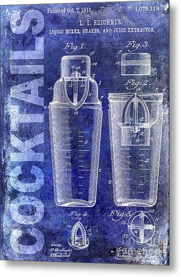 1913 Cocktail Shaker Blue Metal Print by Jon Neidert