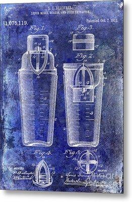 1913 Cocktail Shaker Patent Blue Metal Print by Jon Neidert