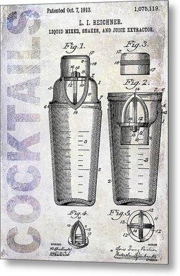 1913 Cocktail Shaker Patent Metal Print by Jon Neidert