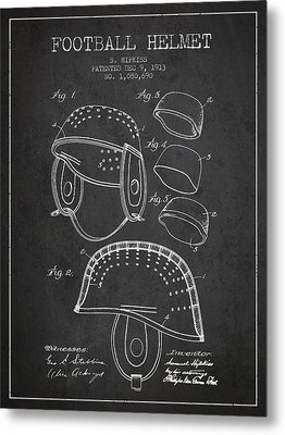 1913 Football Helmet Patent - Charcoal Metal Print by Aged Pixel