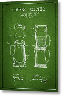 1914 Coffee Dripper Patent - Green Metal Print by Aged Pixel