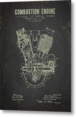 1914 Compustion Engine Patent - Dark Grunge Metal Print