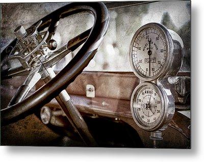 Metal Print featuring the photograph 1914 Rolls-royce 40 50 Silver Ghost Landaulette Steering Wheel -0795ac by Jill Reger