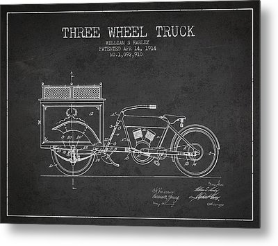 1914 Three Wheel Truck Patent - Charcoal Metal Print by Aged Pixel