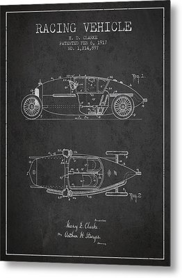 1917 Racing Vehicle Patent - Charcoal Metal Print by Aged Pixel