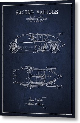1917 Racing Vehicle Patent - Navy Blue Metal Print by Aged Pixel