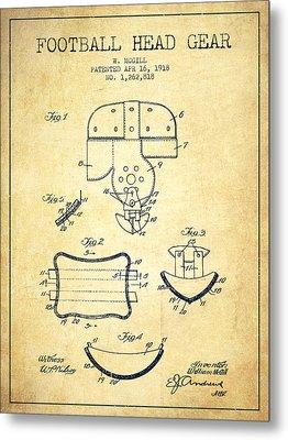 1918 Football Head Gear Patent - Vintage Metal Print by Aged Pixel