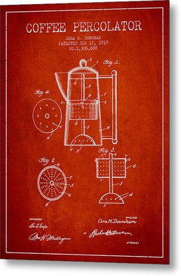 1919 Coffee Percolator Patent - Red Metal Print by Aged Pixel