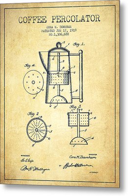 1919 Coffee Percolator Patent - Vintage Metal Print by Aged Pixel