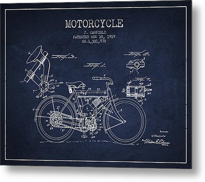 1919 Motorcycle Patent - Navy Blue Metal Print by Aged Pixel
