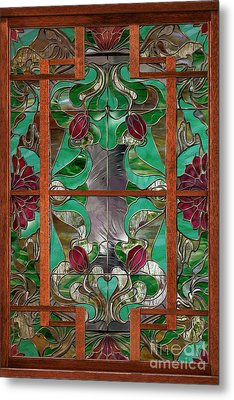 1922 Art Nouveau Stained Glass Panel Metal Print by Mindy Sommers