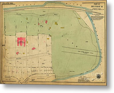 Metal Print featuring the photograph 1923 Inwood Hill Map  by Cole Thompson