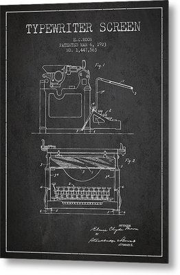 1923 Typewriter Screen Patent - Charcoal Metal Print