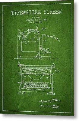 1923 Typewriter Screen Patent - Green Metal Print