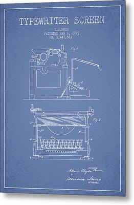 1923 Typewriter Screen Patent - Light Blue Metal Print