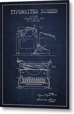 1923 Typewriter Screen Patent - Navy Blue Metal Print