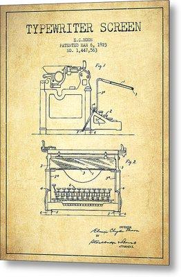 1923 Typewriter Screen Patent - Vintage Metal Print