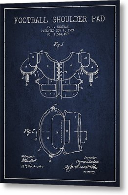 1924 Football Shoulder Pad Patent - Navy Blue Metal Print by Aged Pixel