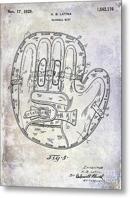 1925 Baseball Glove Patent Metal Print by Jon Neidert