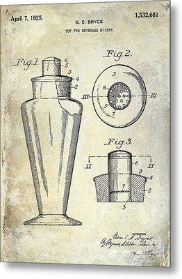 1925 Cocktail Shaker Patent  Metal Print