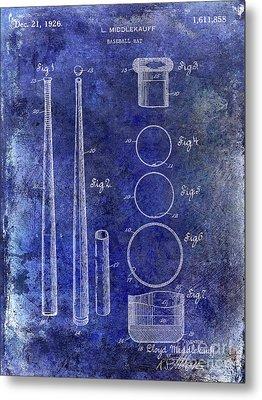 1926 Baseball Bat Patent Blue Metal Print by Jon Neidert