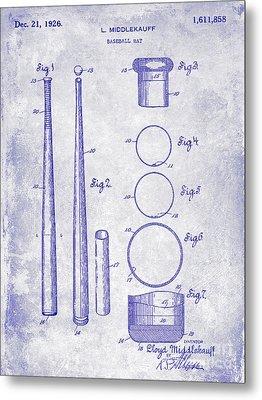 1926 Baseball Bat Patent Blueprint Metal Print by Jon Neidert