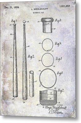 1926 Baseball Bat Patent Metal Print by Jon Neidert