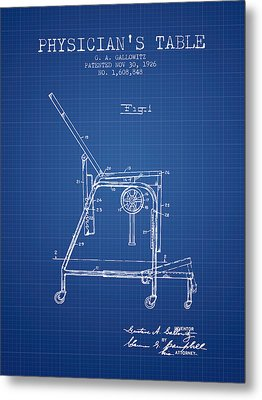 1926 Physicians Table Patent - Blueprint Metal Print by Aged Pixel