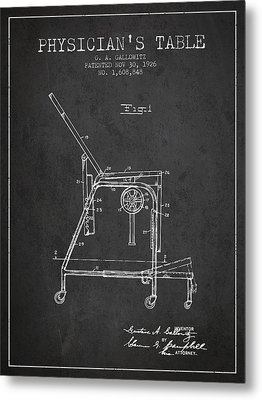 1926 Physicians Table Patent - Charcoal Metal Print by Aged Pixel