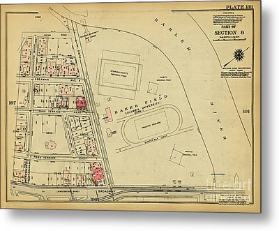Metal Print featuring the photograph 1927 Baker Field Map  by Cole Thompson