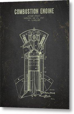 1927 Compustion Engine Patent - Dark Grunge Metal Print