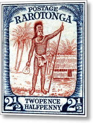 Metal Print featuring the painting 1927 Cook Island Rarotongan Chief Stamp by Historic Image