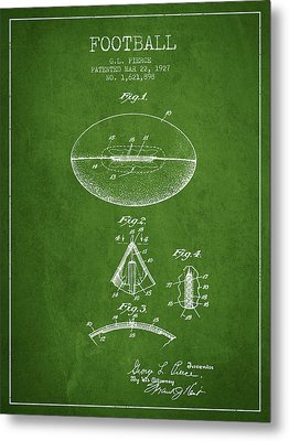 1927 Football Patent - Green Metal Print by Aged Pixel