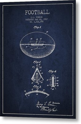 1927 Football Patent - Navy Blue Metal Print by Aged Pixel