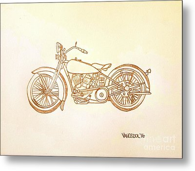 1928 Harley Davidson Motorcycle Graphite Pencil - Sepia Metal Print