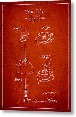 1928 Tea Bag Patent - Red Metal Print by Aged Pixel