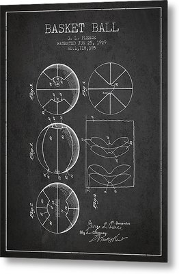 1929 Basket Ball Patent - Charcoal Metal Print
