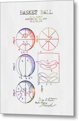 1929 Basket Ball Patent - Color Metal Print by Aged Pixel